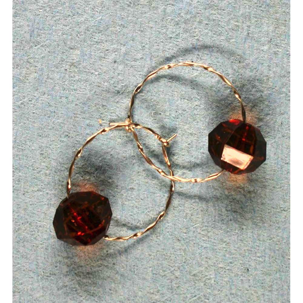 image showing Bead Hoop Earrings Rolled Silver Amber 001