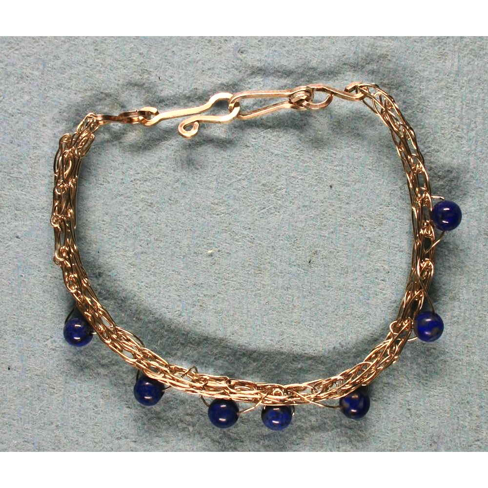image showing Bracelet Sterling Silver Viking Knit Laps Lazuli 001