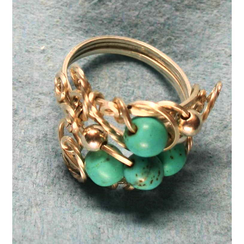 image showing Free Form Ring Argentium Silver with Magnesite 001