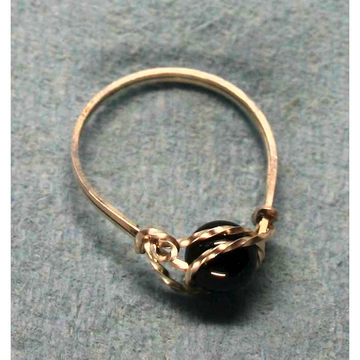 image showing Large Bead Ring Argentium Silve Black Onyxr 001