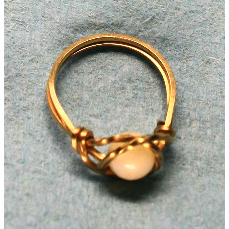 image showing Large Bead Ring Rolled Gold Rose Quartz 001