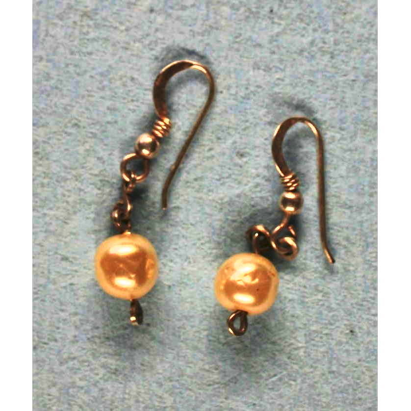 image showing One Bead Drop Earrings Rolled Gold Pearl 001