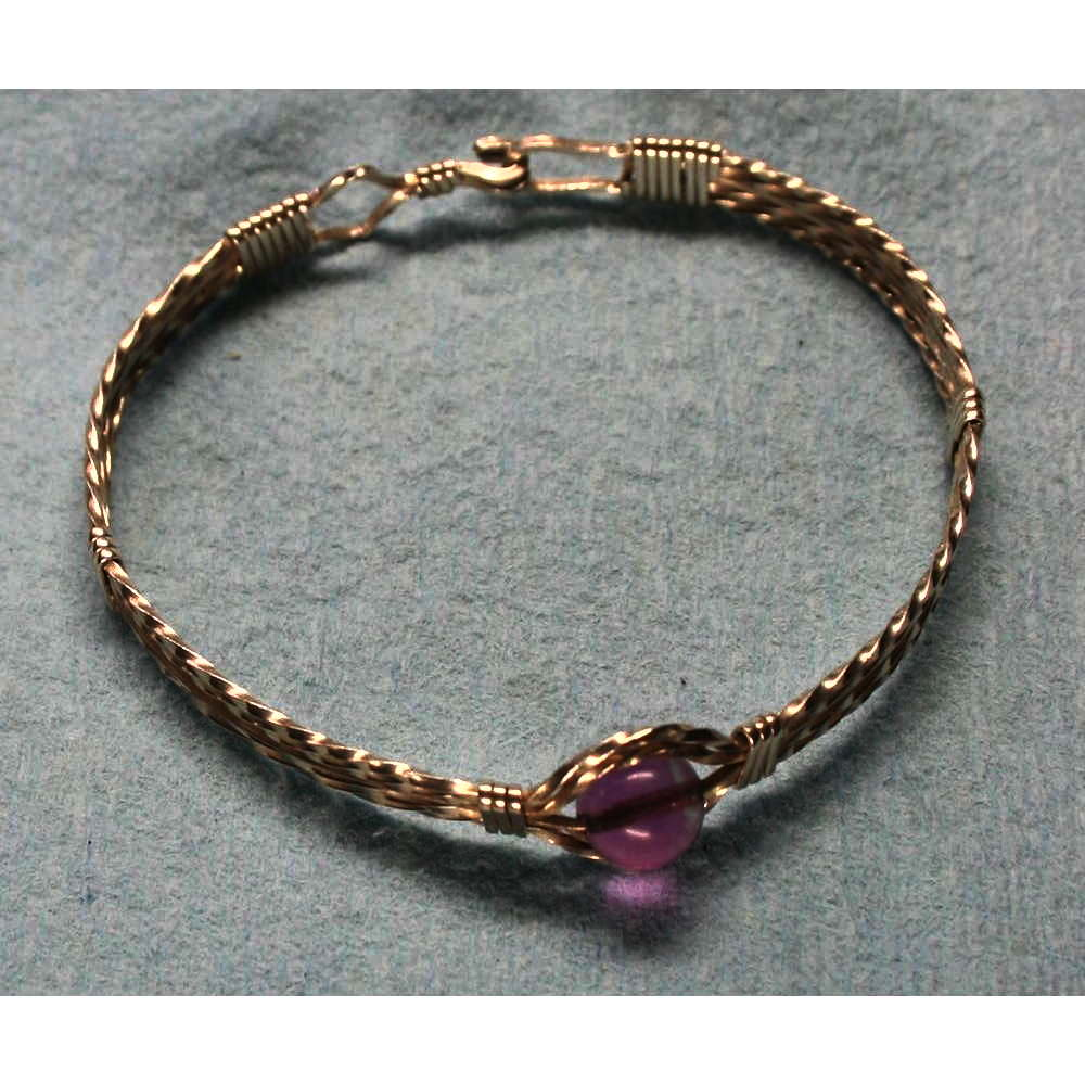 image showing One Bead Wide Bangle Sterling Silver Fluorite 001