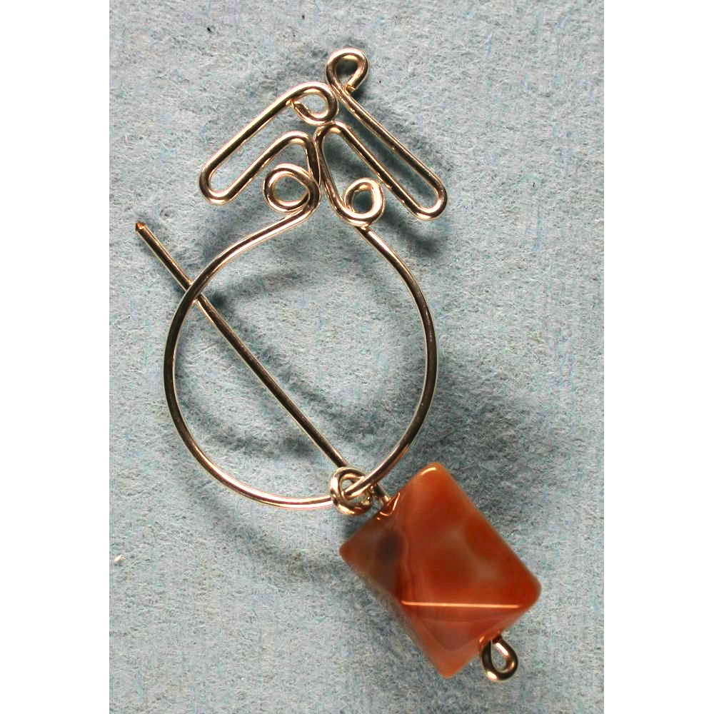 image showing Penannular Brooch Rolled Silver Botswana Agate 002