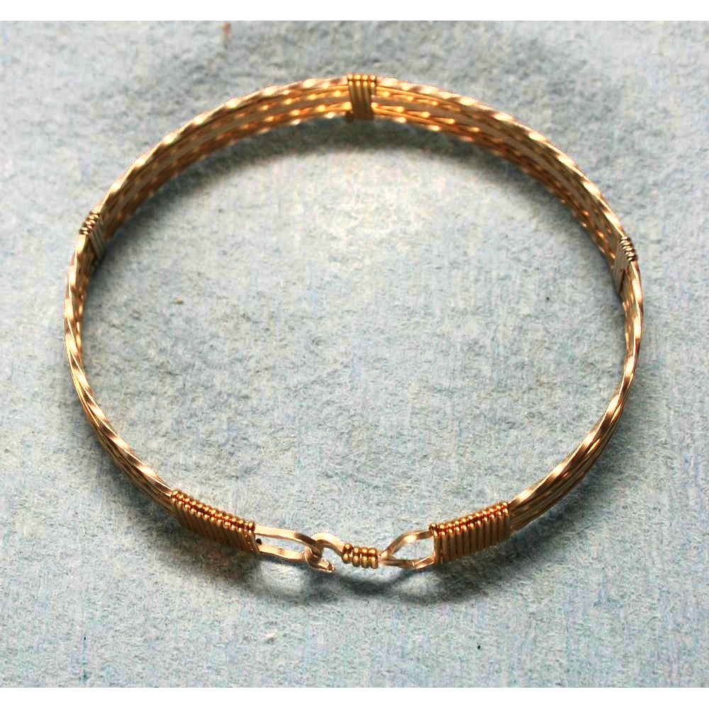 image showing Six Strand Bangle Rolled Gold Argentium Silver 001