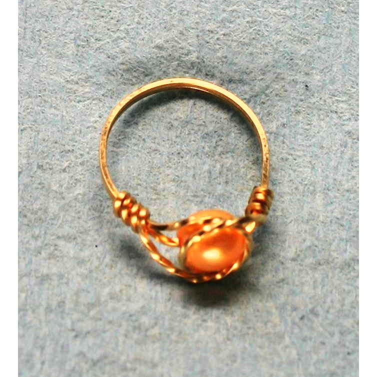 image showing Small Bead Ring Rolled Gold Pearl 001