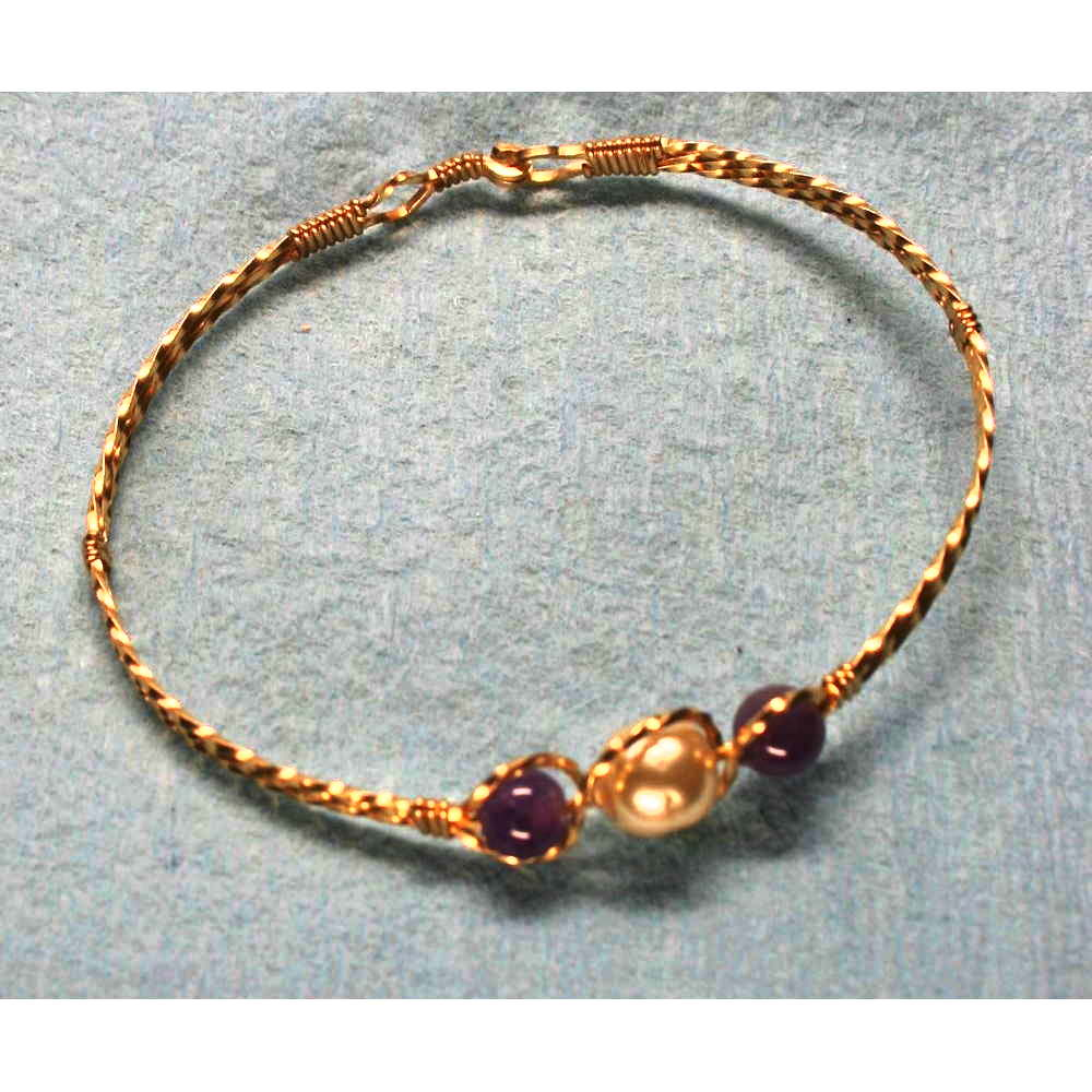 image showing Three Bead Bangle Rolled Gold Amethyst Pearl 001