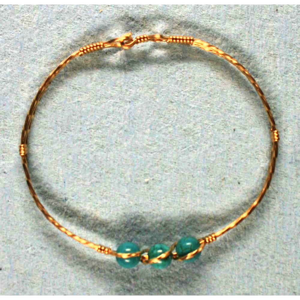 image showing Three Bead Bangle Rolled Gold Turquise 001