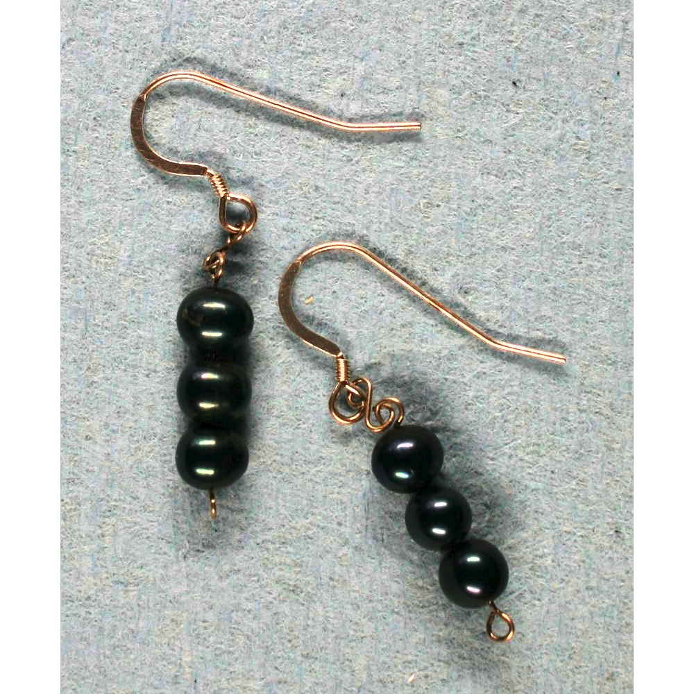 image showing Three Bead Drop Earrings Black Onyx Rolled Gold 001